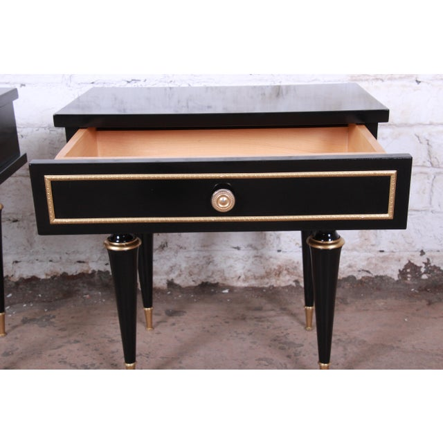 French Mid-Century Modern Ebonized Wood and Brass Nightstands / End Tables - a Pair For Sale - Image 9 of 13