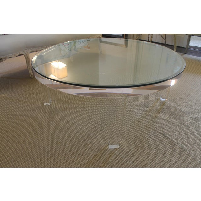 Glass H- Studio Round Glass/Lucite Coffee Table For Sale - Image 7 of 8