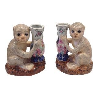 Porcelain Monkey Form Vases - a Pair For Sale
