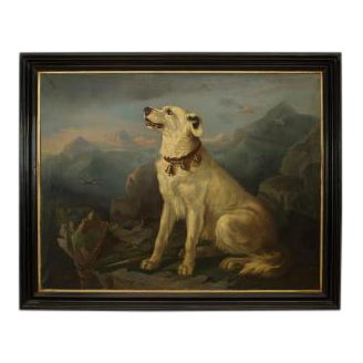 19th Century American Country Ebonized Framed Oil Painting of Seated White Dog at Overlook For Sale