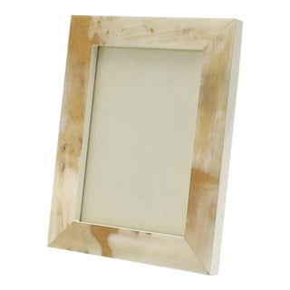 "Cream Lacquer and Horn Picture Frame, 5"" X 7"" For Sale"