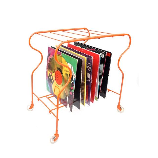 Mid-Century Modern Orange Metal Rolling Record Rack - Image 10 of 11