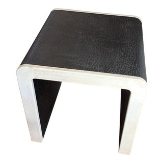 Washed Oak and Animal Embossed Leather Waterfall Side Table For Sale