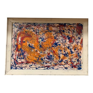 1960s Drip Painting on Board After Jackson Pollock, Framed For Sale