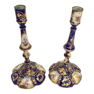 English Enamel Candlesticks - A Pair For Sale