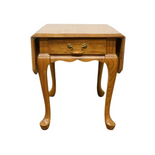 20th Century French Country Mersman Solid Oak Drop Leaf Accent End Table For Sale