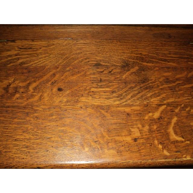 Orange Antique Arts & Crafts Mission Oak Hall Storage Bench For Sale - Image 8 of 9