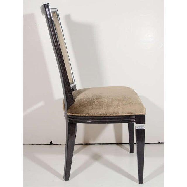 Pair of Elegant Hollywood Regency High Back Chairs in Velvet For Sale - Image 4 of 7