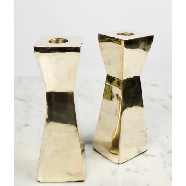 Metal Vintage Modern Brass Candlesticks - A Pair For Sale - Image 7 of 7