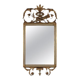 Beautiful French Louis XVI Style Gold Gilt and Painted Mirror For Sale