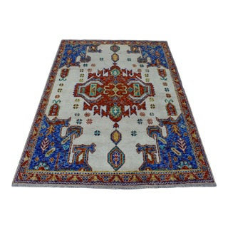 Ivory Tribal Design Colorful Afghan Baluch Hand Knotted Wool Rug For Sale