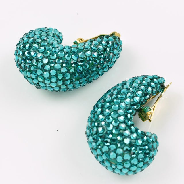 1980s Richard Kerr Nautilus Shaped Turquoise Crystal Paved Clip on Earrings For Sale - Image 10 of 10