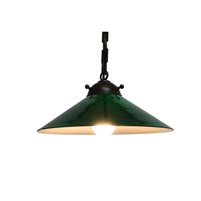 Industrial Antique Emeralite Green Encased Glass Pendant Light Fixture For Sale - Image 3 of 10