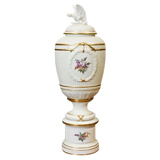 20th c. Danish Footed Urn with Lid from Royal Copenhagen For Sale