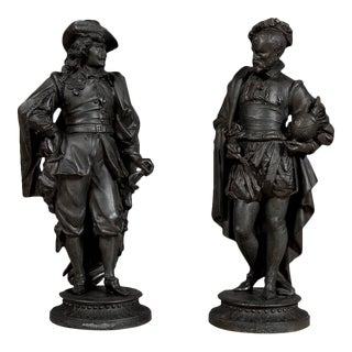 Pair Antique Renaissance Spelter Statues For Sale
