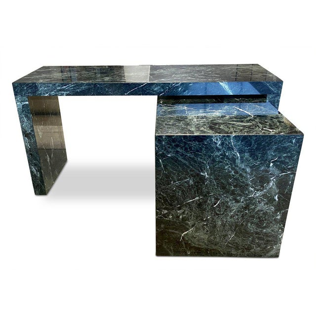 1970s Italian Green Marble Desk With Return For Sale In Los Angeles - Image 6 of 6