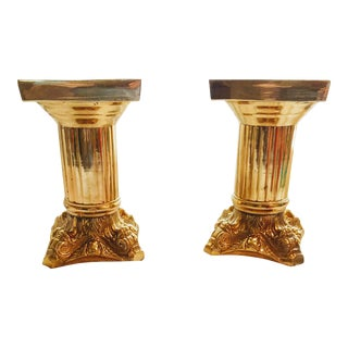 Hollywood Regency Solid Brass Display Pedestals - a Pair For Sale