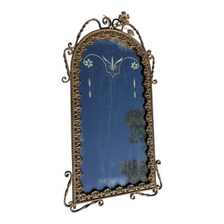 Antique Victorian Etched Glass Cast Bronze Frame Mirror