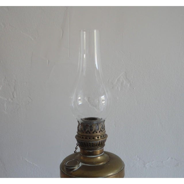 Early American Fine Early 19thc Brass Oil Lamp With Original Glass Globe For Sale - Image 3 of 7