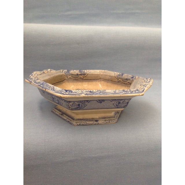 Antique Blue and White Transferware Dish With Lid For Sale - Image 9 of 13