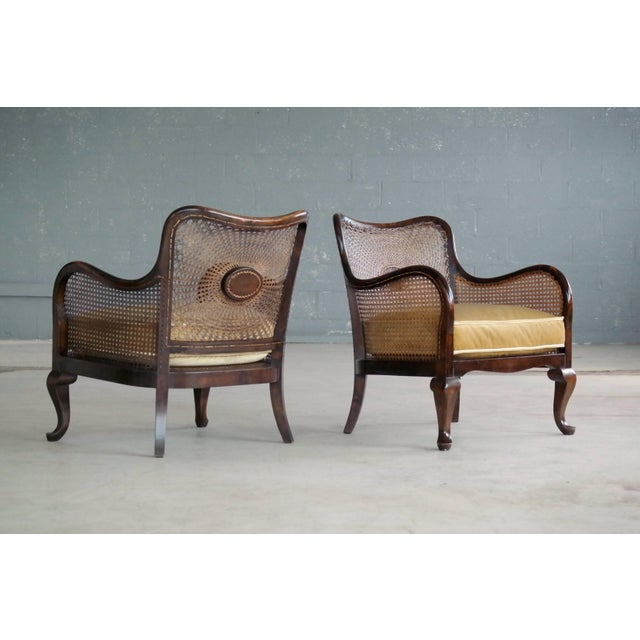 Pair of Danish Early 20th Century Caned Library Bergère Chair in Stained Birch - Image 10 of 10