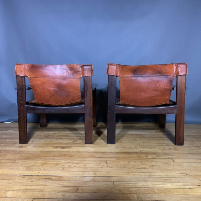 Pair 1970s Saddle Leather Arm Chairs, Mobring Style For Sale In New York - Image 6 of 13