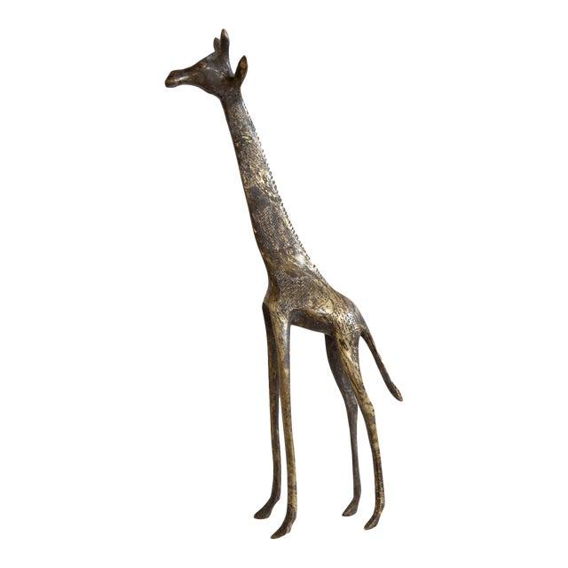 Vintage African Dark Bronze With Golden Streaks Giraffe For Sale