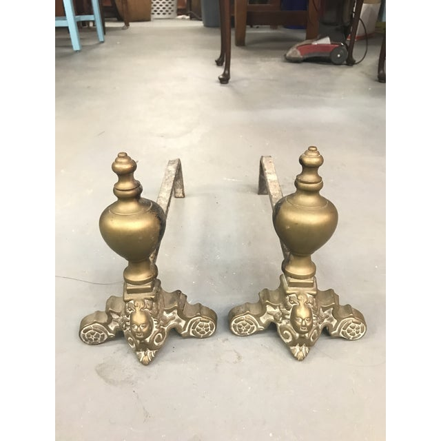 Early 20th Century Brass Rococo Cherub Andirons - a Pair For Sale - Image 5 of 5
