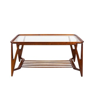 1945-50 Large Coffee Table, Cherry Wood and Glasses - Italy For Sale