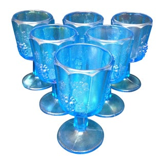 Ice Blue Iridescent Carnival Glass Cordials - 6