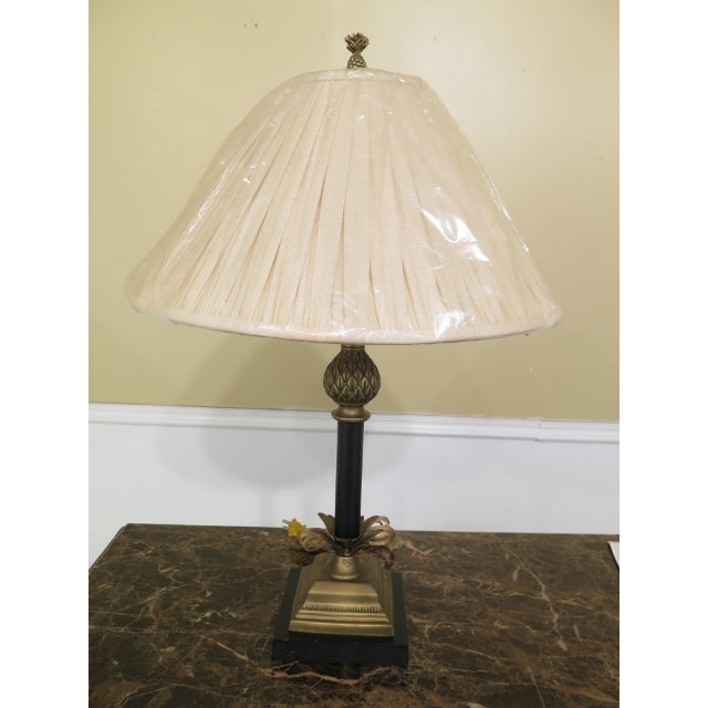 Brass & Ebony Pineapple Table Lamp w. Shade Age: Approx: 20 Years Old Details: Quality Construction Condition: Excellent...