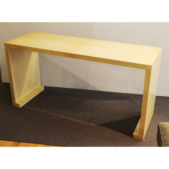 Modern Lacquered Goatskin Console Table Attributed To Karl Springer For Sale - Image 11 of 13
