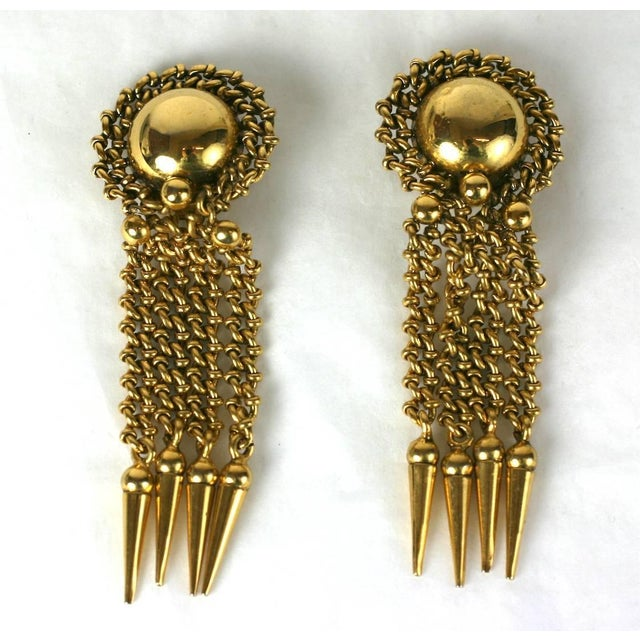 Massive Italian Chain Fringe Earclips For Sale - Image 4 of 5