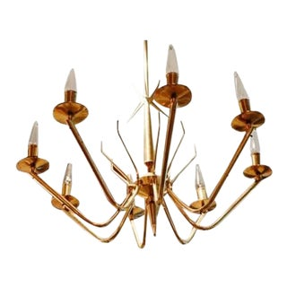 1970s Italian Mid-Century Brass Chandelier, 2 Available For Sale