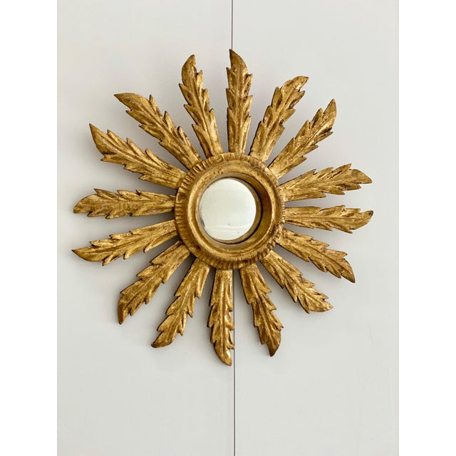 French French Small Acanthus Leaf Sunburst Mirror For Sale - Image 3 of 3