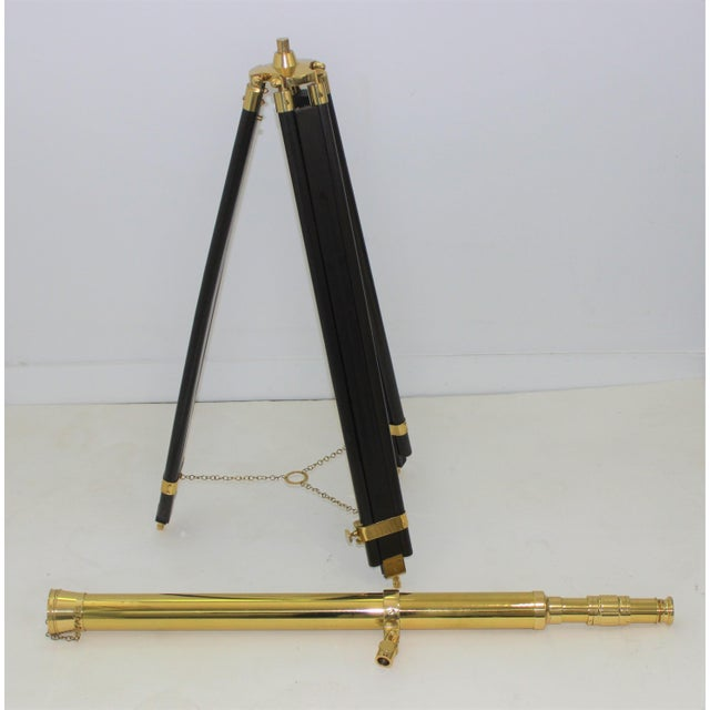 Early 20th Century Antique Brass Telescope on Folding Wood Tripod Legs For Sale - Image 5 of 13