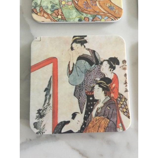 Japanese Geisha Women Coasters - Set of 6 For Sale - Image 4 of 10