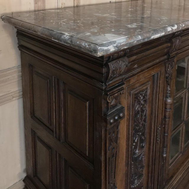 Marble 19th Century French Louis XIV Marble Top Display Buffet For Sale - Image 7 of 13