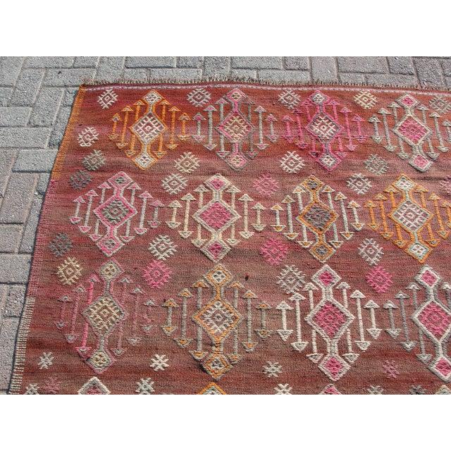 Islamic Vintage Turkish Kilim Rug - 5′5″ × 8′8″ For Sale - Image 3 of 11