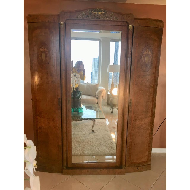 Antique French Burlwood Armoire With Mirror - Image 6 of 10