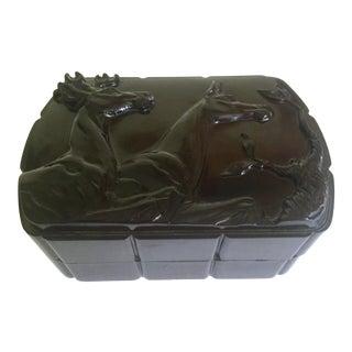 Vintage 1930's Art Deco Bakelite Celluloid Plastic Double Deer Relief Mens Valet Vanity Box