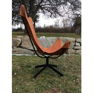 Wrought Iron Leather Butterfly Sling Chair Leathercrafter NYC Mid Century Modern Preview