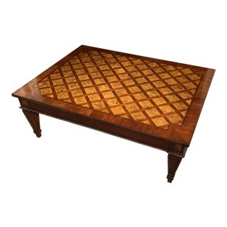 1990s Hollywood Regency Ethan Allen Marquetry Coffee Table For Sale