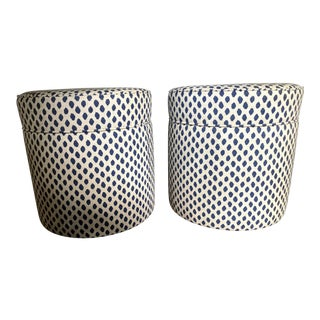 Suzanne Kasler Round Storage Ottomans - a Pair For Sale