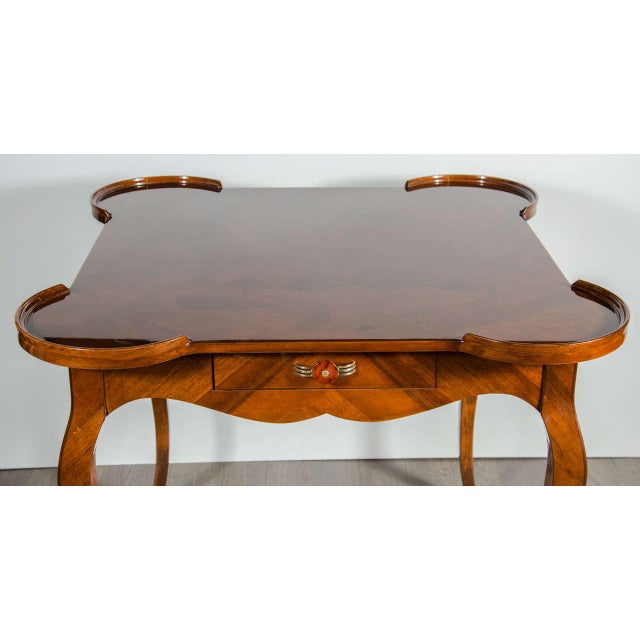 Exceptional Art Deco Game Table With Exotic Burled Walnut Inlay For Sale - Image 9 of 11