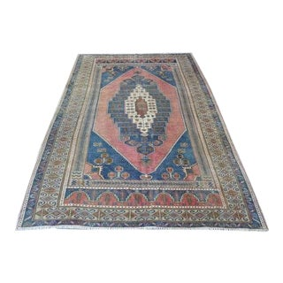 1960s Vintage Hand-Knotted Turkish Oushak Rug - 4′11″ × 8′4″ For Sale