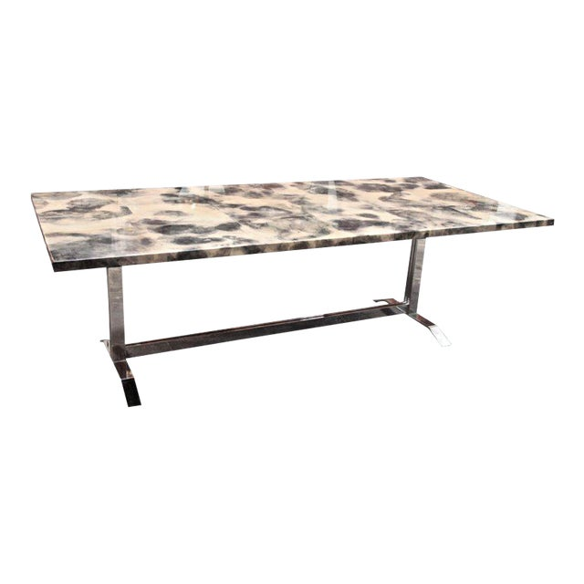 Parchment and Resin Dining Table with Stainless Steel Base For Sale