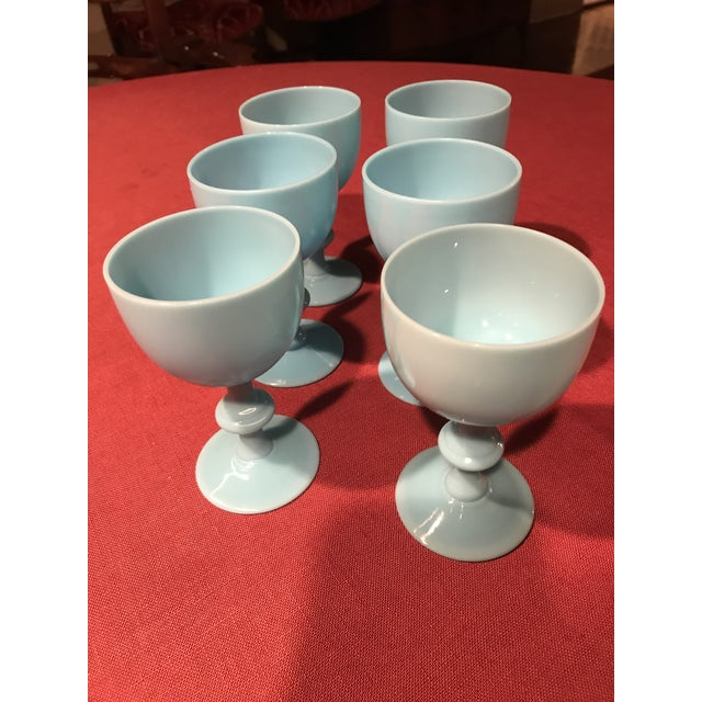 French 1900s Portieux Vallerysthal French Blue Opaline Glassware - Set of 6 For Sale - Image 3 of 5
