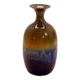 20th Century Scandinavian Caramel Blue Studio Pottery Bud Vase For Sale