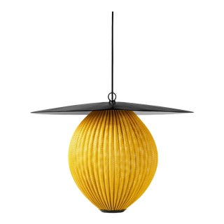 Large Mathieu Matégot 'Satellite' Pendant in Black and Yellow Metal For Sale